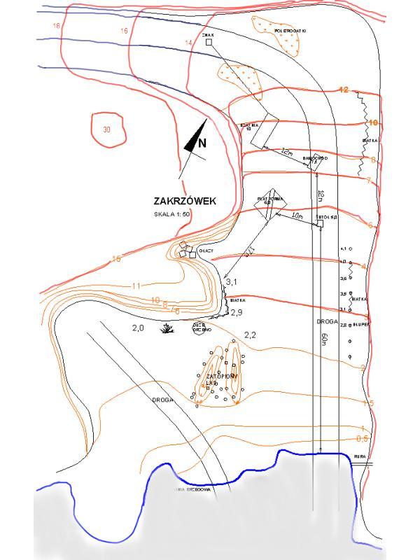 Zakrzówek mapa batymetryczna