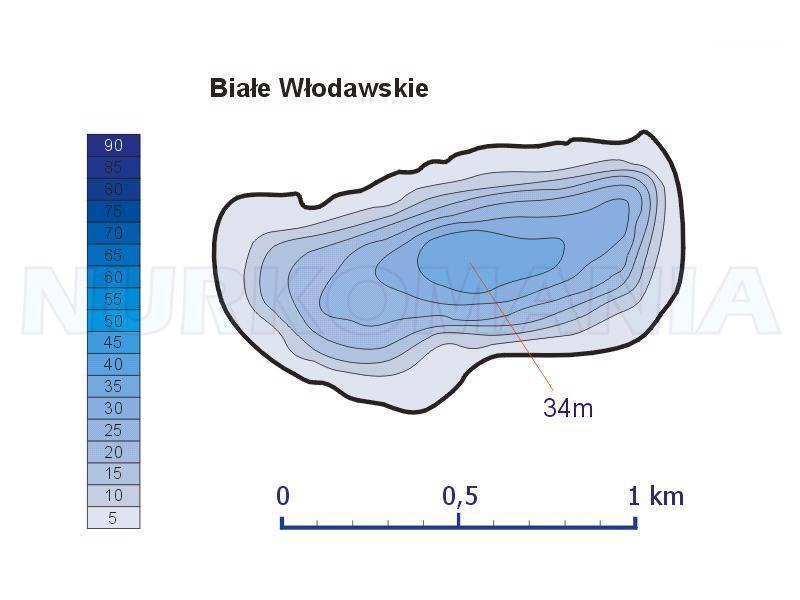 Białe Włodawskie mapa batymetryczna